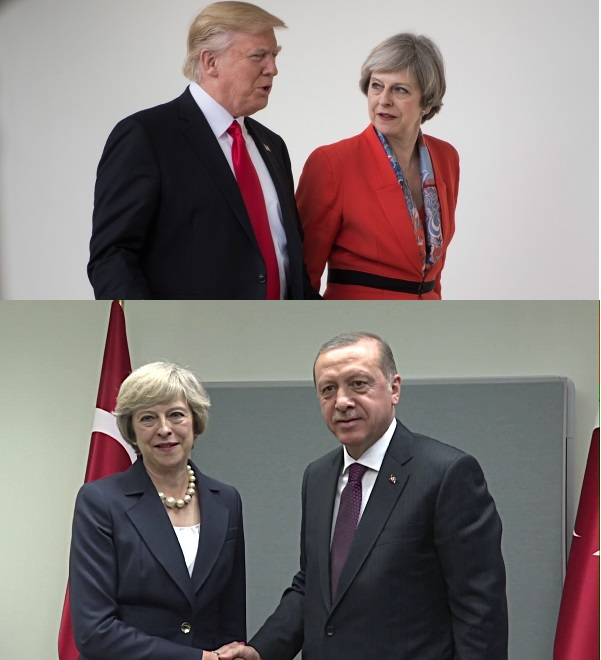 Theresay May, Donald Trump et Recep Tayyip Erdogan