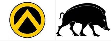 A gauche le sanglier, symbole du Bloc Identitaire. A droite le bouclier frappé du lambda, emblème de Génération Identitaire, section jeunesse du Bloc Identitaire