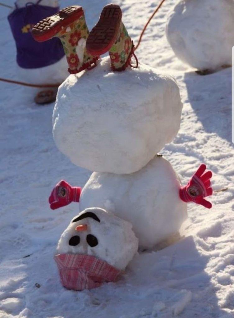 Morgane et son bonhomme de neige