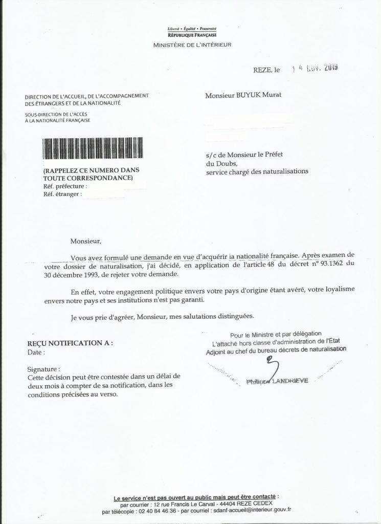 lettre refus du ministère