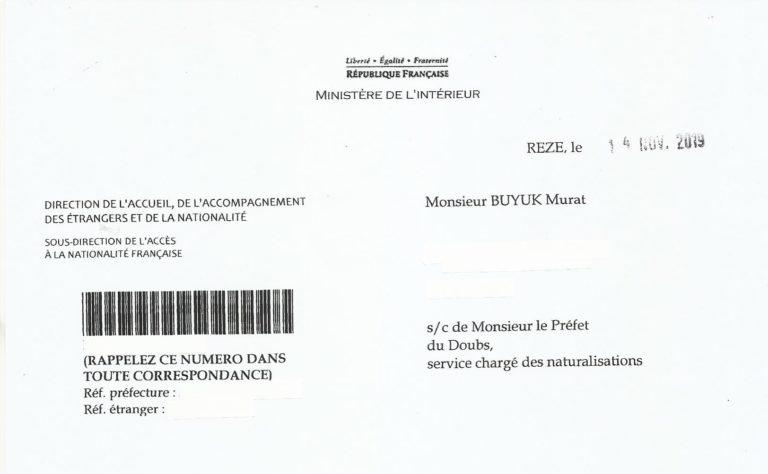 lettre refus nationalité