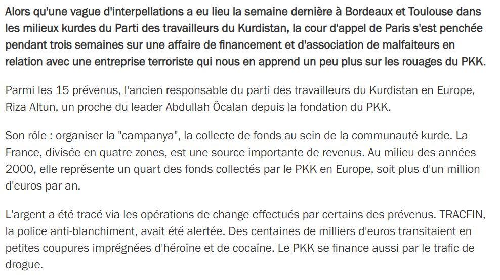 Le PKK est dans danger pour la France contrairement à la communauté Turque
