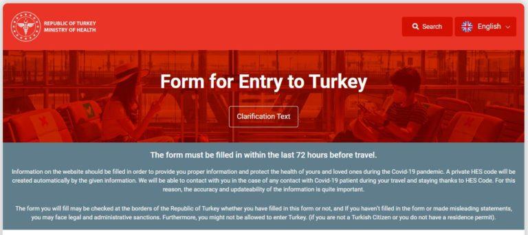 formulaire entrée Turquie