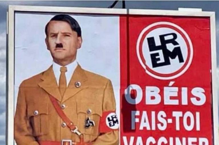 Macron plainte affiche Hitler